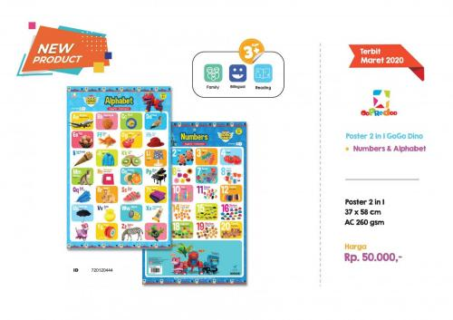 Poster -Poster 2 in 1 GoGo Dino Numbers _ Alphabet