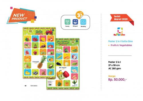 Poster - Poster 2 in 1 GoGo Dino Fruits Vegetables