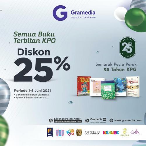Poster Semarak HUT KPG Diskon 25% di Gramedia se-Indonesia