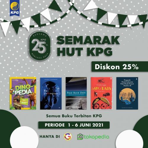 Poster Semarak HUT KPG Diskon 25% di Gramedia Tokopedia