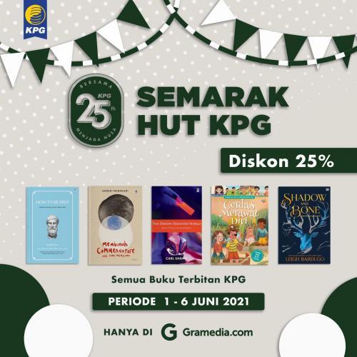 Poster Semarak HUT KPG Diskon 25% di Gramedia.com