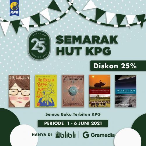 Poster Semarak HUT KPG Diskon 25% di Gramedia Blibli