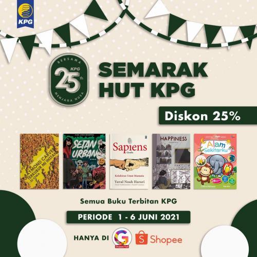 Poster Semarak HUT KPG Diskon 25% di Gramedia Shopee