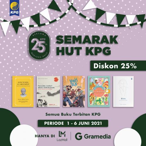 Poster Semarak HUT KPG Diskon 25% di Gramedia Lazada
