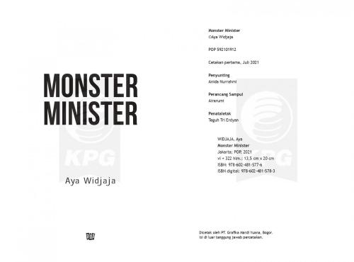 Cover Photo Icip-Icip Buku Monster Minister