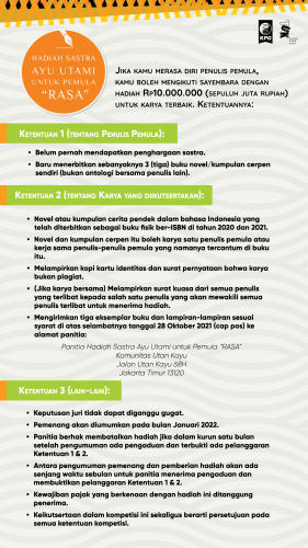 "Syarat dan Ketentuan Hadiah Sastra untuk Pemula ""Rasa"" dari Ayu Utami"